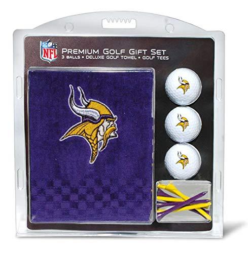 Team Golf NFL Minnesota Vikings Gift Set Embroidered Golf Towel, 3 Golf Balls, and 14 Golf Tees 2-3/4' Regulation, Tri-Fold Towel 16' x 22' & 100% Cotton