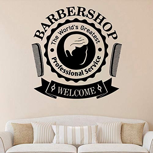 ASFGA Adesivo murale Negozio di Barbiere Servizio Professionale Porta Logo Finestra Adesivo in Vinile Gentiluomo Parrucchiere Decorazione d'interni Carta da Parati