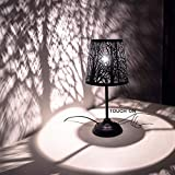 Touch Control Mini Table Lamp,  3 Way Dimmable Bedside Lamp, Decorative Nightstand Lamp for Bedroom, Living Room, Black Metal Shade Forest Lighting, Bulb Included