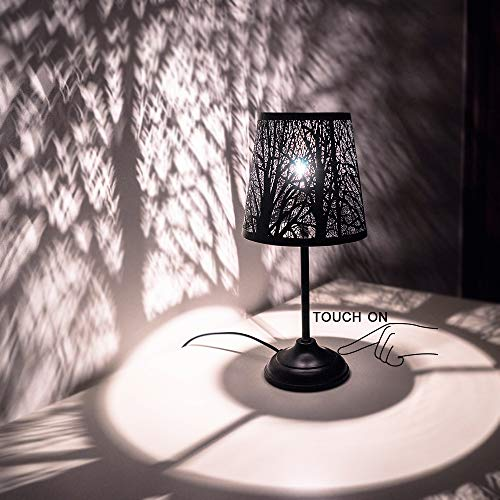 Touch Control Mini Table Lamp, 3 Way Dimmable Bedside Lamp, Decorative Nightstand Lampfor Bedroom, Living Room, Black Metal ShadeForest Lighting, Bulb Included