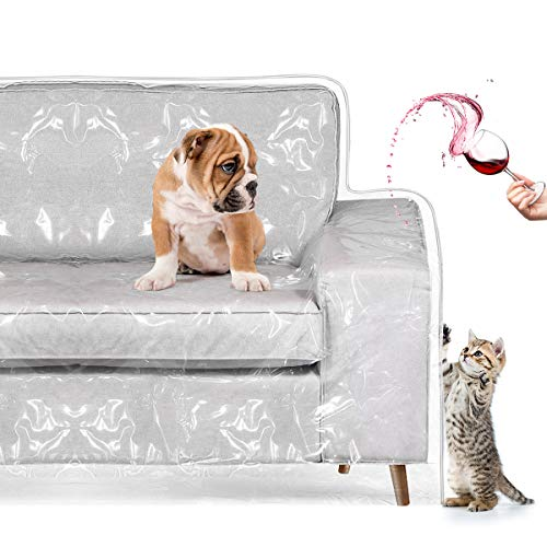 "Homemaxs Couch Cover, Pets Scratching Sofa Protector Heavy Duty Waterproof See-Through Plastic Slipcover for Cushion Couch Furniture Protection from Dog, Cat, Spill, Moving Dust 96""W×42""BF×18""FH×40"""