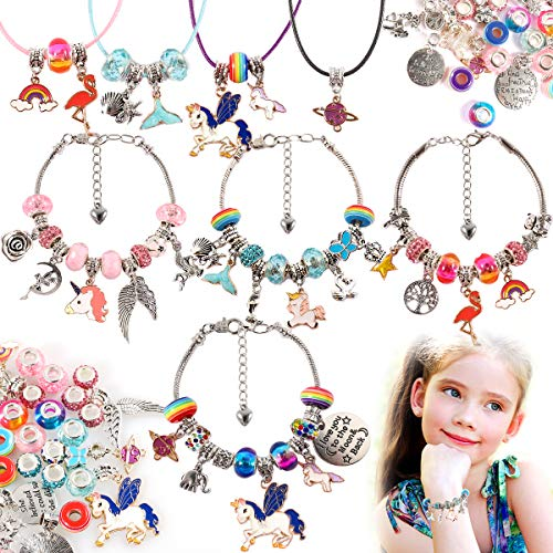 Charm Bracelets Making Kit for Girls - DIY Jewelry Making Supplies with Unicorn Mermaid Crafts Spacer Bead Sanke Chain Tibetan Silver Charms Pendants Necklace Set for Ages 8-12 Girls Teens Beginner