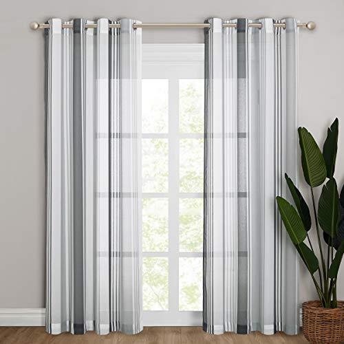 NICETOWN Cortinas Salón Moderno - Cortina Visillo Translucido Ojales para Dormitorio Habitación Sala, 2 Piezas, 140 x 245 cm, Gris