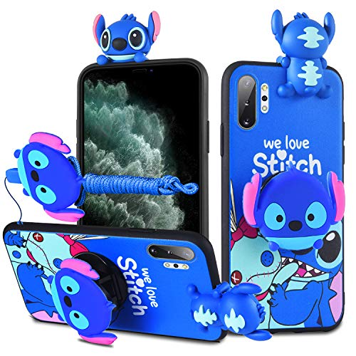 HikerClub Galaxy Note10 Plus Case Stitch 3D Cartoon Case with Pop Out Phone Stand Grip Holder and Detachable Long Lanyard Neck Strap Band Soft Lovely Case for Girls Children (Blue, Note10 Plus)