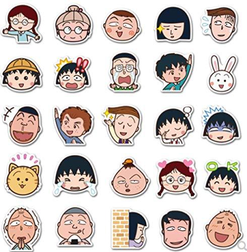 BLOUR Emoji Cherry Maruko Hand Account Album DIY Mobile iPad Notebook Linda Pegatina Impermeable 50 Piezas
