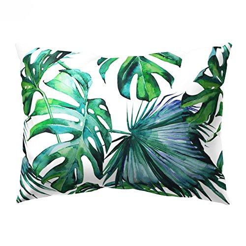 Funda de Cojín Rectangular con Diseño de Hojas Verdes Tropicales, para sofá o Decoración del hogar, 8 Unidades, 12#, 30cm x 50cm