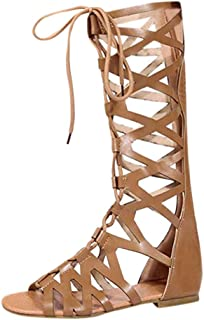 JJLIKER Women Leather Lace Up Knee High Gladiator Flat Sandals Over The Knee Strappy Boots Shoes