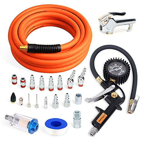FYPower 22 Pieces Air Compressor Accessories kit, 3/8 inch x 25 ft Hybrid Air Hose Kit, 1/4' NPT Quick Connect Air Fittings, Tire Inflator Gauge, Blow Gun, Air Filter, Swivel Plugs