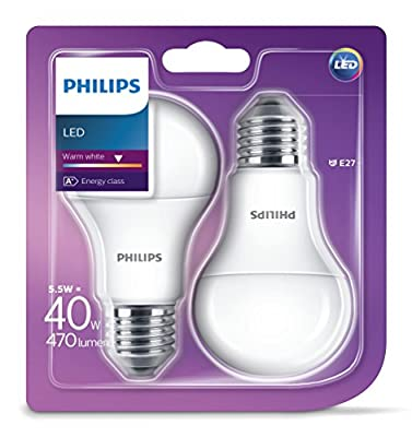 Philips LED E27 Frosted Light Bulbs, 5.5 W (40 W) - Warm White, Pack of 2