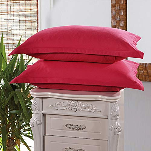 Funda de almohada HYSM para dormitorio, estilo breve, color sólido, 48 x 74 cm, granate, 480*740mm