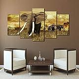 BOMDOW Cartel Impreso Moderno Arte De Pared Modular 5 Paneles Elefantes De África Marco del Paisaje Imágenes Decoración del Hogar Sala De Estar Pintura De La Lona-30X40Cmx2/30X60Cmx2/30X80Cmx1