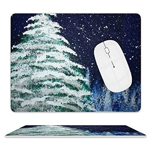 Ledermauspad für Computer und PC steuern die Mausmatte reibungslos mit genähten Mauspads mit Premium-Textur (Weihnachtsbaum-Sternenhimmel)
