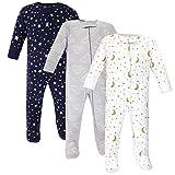 Hudson Baby Baby Zipper Sleep N Play, Navy Stars & Moon 3 Pack, Preemie