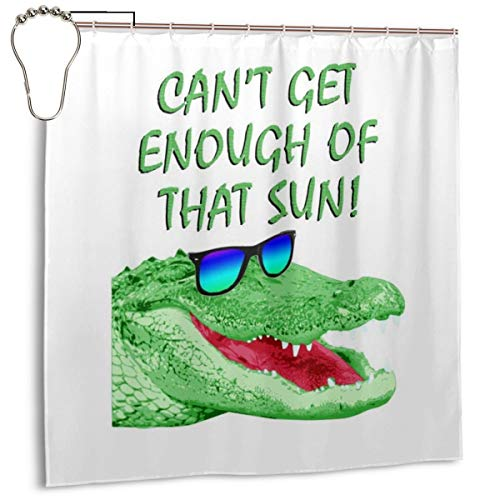 GSEGSEG Wasserdichter Polyester-Duschvorhang Cant Get Enough of That Sun Krokodil-Druck, dekorativer Badezimmer-Vorhang mit Haken, 183 x 183 cm