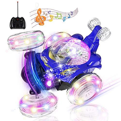UTTORA Stunt Coche Teledirigido,Coche RC Radiocontrol Tornado Twister Control Remoto Crawler Recargable con Luces de Colores e Interruptor de Música para Niños