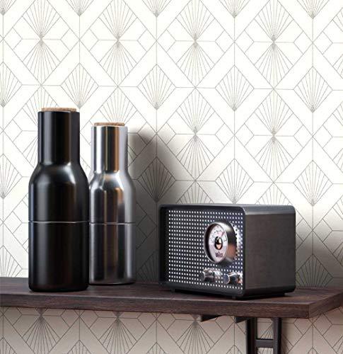 NEWROOM Tapete grafisch weiß Muster Tapeten der 50er Art Deco Vliestapete Vlies Tapete Luxus Modern Glamour inkl. Tapezier Ratgeber ǀ Grafik