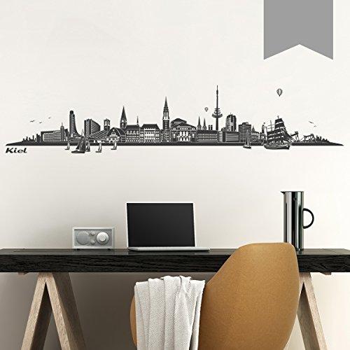 WANDKINGS Wandtattoo - Skyline Kiel - 180 x 36 cm - Mittelgrau - Wähle aus 6 Größen & 35 Farben