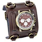 JewelryWe Herren Armbanduhr, Analog Quarz, 30M Wasserdicht Elegant Casual Sport Uhr mit Braun Breit Leder Armband & Braun Rund Zifferblatt