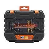 Black+Decker A7233-XJ A7233-XJ-Juego de 31 Piezas para Atornillar y Taladrar en Maletín de fácil Transporte. Brocas Titanio, 0 V, negro