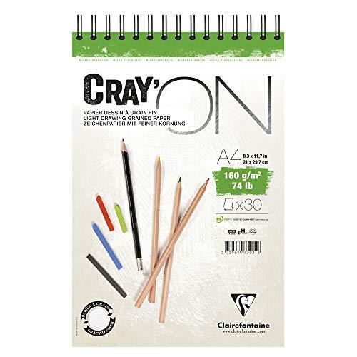 Clairefontaine 975031C Bloc Spiralé Cray'ON - 30 Feuilles Papier Dessin Blanc au Grain Fin - Feuilles Détachables - A4 21x29,7 cm 160g