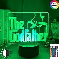 フィルムゴッドファーザーレターロゴ3D LEDナイトライト家の装飾用ナイトライトタッチセンサーRgbカラフルリモートオフィステーブルランプ