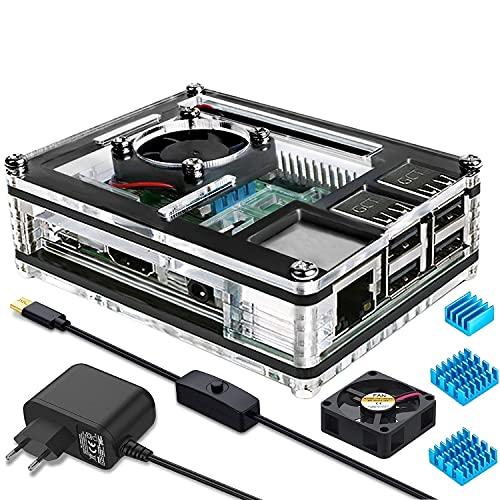 Miuzei Raspberry Pi 3 b+ Gehäuse mit Lüfterkühlung, 3 × Aluminium Kühlkörper, 5V 3A Netzteil, Micro-USB Kabel mit EIN/Aus Schalter Kompatibel mit Raspberry Pi Modell 3b+, 3b, 2b