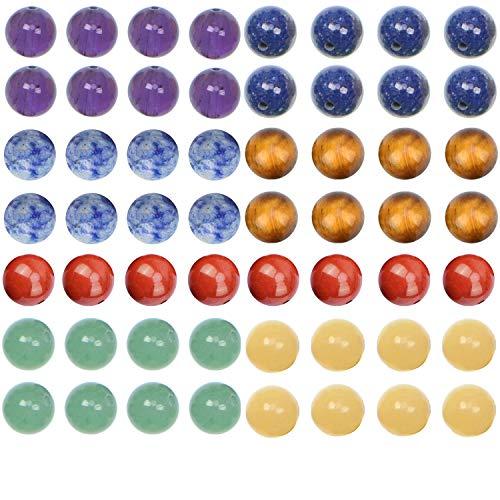 LPBeads 100pcs 8mm Natural Mixto Chakra Perlas Redonda Piedra Piedra Redonda Suelta para Fabricación de Joyas con Cordón de Cristal