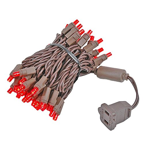 Novelty Lights 50 Light LED Christmas Mini Light Set, Outdoor Lighting Party Patio String Lights, Red, Brown Wire, 11 Feet
