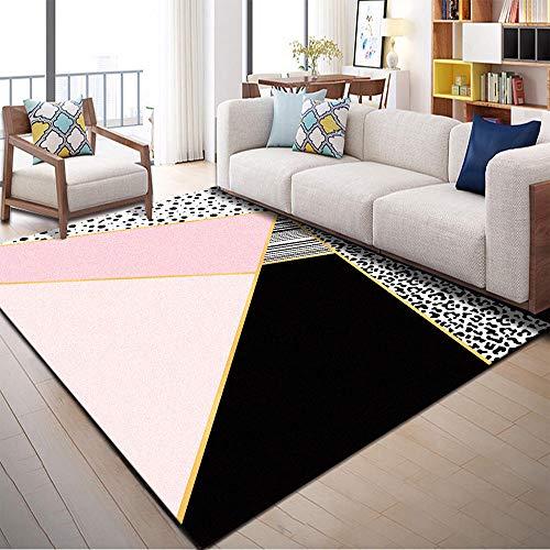 Alfombra Salon Moderna Alfombras Que Se Pueden Fregar Negro Rosa patrón geométrico diseño de niña habitación de la Sala de niños Seguridad Antideslizante Alfombra Habitación Matrimonio 40x60cm