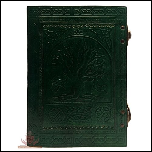 Natural Handicraft Leather Journal Embossed Tree of Life Book of Shadows Celtic Notebook Diary Organizer College Book Planner Poetry Book Scheduler Sketch Book with Double C-Lock 7' x 10' Inches