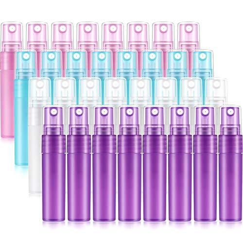 32 Botella de Spray Esmerilada Botella de Perfume Recargable Vacía Colorida 5 ml con Tubo Plástico Botella Plástica Mate 1/6 oz Botella de Gel Loción Cosmético para Viaje Fiesta Maquillaje