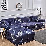 WXQY Funda de sofá de Sala de Estar con patrón geométrico combinación elástica a Prueba de Polvo Antideslizante Funda Protectora de sofá de Esquina en Forma de L A9 3 plazas