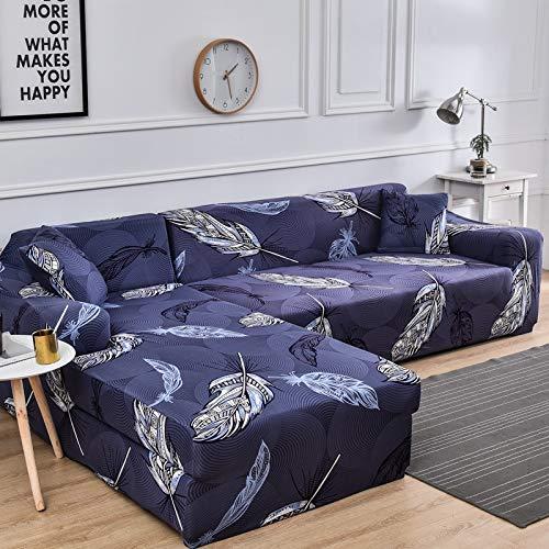 ASCV Fundas de sofá elásticas Impresas para Sala de Estar Funda de sofá Esquina en Forma de L Chaise Longue Sillón Sofá Funda A8 3 plazas