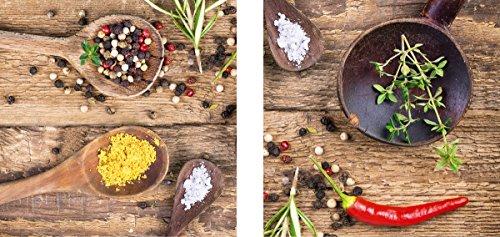Eurographics 2er Set Rustic Spices Glasbild, Glas, Braun, 60 x 30 x 1.7 cm, 2-Einheiten