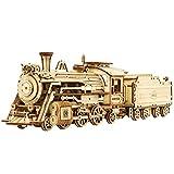 Yakia Puzzle de madera 3D, kits de modelo de tren de vapor, kit de construcción de madera para...