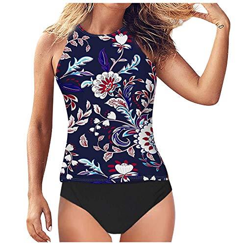 YANFANG Ropa para Playa Mujer Bikinis BrasileñOstraje De BañO Dos Piezas Tankini Cintura Alta con Cuello Halter Y Control Abdomen Mujer,Traje