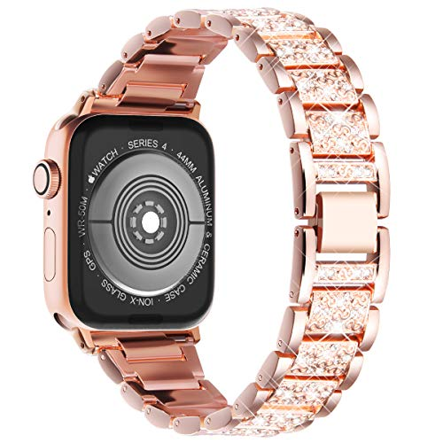 Wingle Bling Strap Compatible with Apple Watch Series 6 Series 5 Series 4 44mm, Women Bracelet Stainless steel Replacement band Compatible with iWatch Series 1,2,3 42mm, Rose Gold