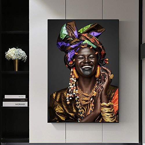 N / A Impresión en Lienzo Boca Abierta Laugh Pinturas de Mujeres Negras Póster artístico y Pintura Impresa en Lienzo Arte para la Sala de Estar Decoración de Moda para el hogar