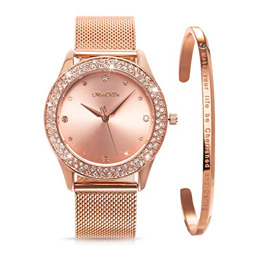 ManChDa Womens Wrist Watch Crystal Mesh Stainless Steel Belt Ladies Quartz Diamond Classic Fashion Romatic + Jewelry Cuff Bracelet Set(Gold Rose)