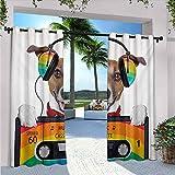 Popstar - Cortinas para patio al aire libre, diseño de perro con un casete viejo de los años 80, para dormitorio, sala de estar, porche, pérgola, 226 cm de ancho x 72 cm de largo