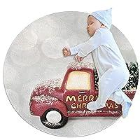 ソフトラウンドエリアラグ滑り止めフロアサークルマット 70x70cm/27.6x27.6IN 吸収性メモリースポンジスタンディングマット,メリークリスマス赤いトラッククリスマスお祭り