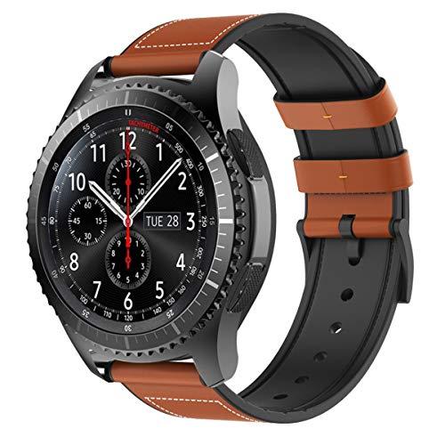 TiMOVO Pulsera Compatible con Samsung Gear S3 Classic/Frontier/Galaxy Watch 46mm, Pulsera Clásica de Cuero Genuino con Conectores metálicos, Las Bandas de Reemplazo - Naranja