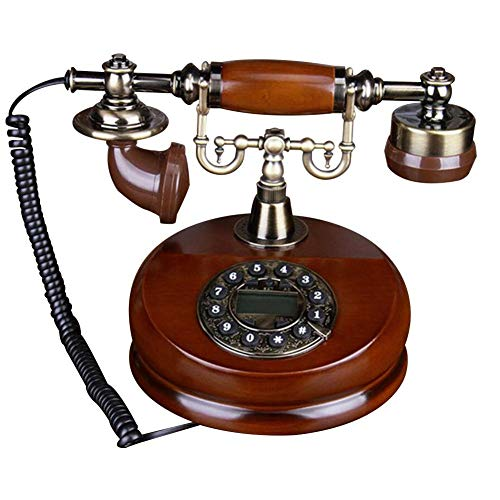 Teléfono con dial giratorio, teléfonos fijos antiguos de madera con campana de metal clásico, función de manos libres y rellamada para el hogar/oficina/hotel