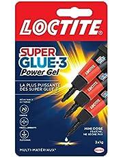 Loctite Super Glue-3 Power Gel Mini dose, colle forte enrichie en caoutchouc, mini-dose de colle gel ultra-résistante, séchage immédiat, colle transparente, lot de 3 tubes 1 g