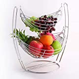 LIZANAN fruit Double-pont amovible Fruit Basket durable à grande capacité de fruits Support à égouttoir décoratifs for la maison corbeille