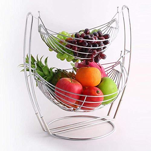 LIPENLI De Dos Pisos Desmontable Cesta de Frutas Duradero de Gran Capacidad de Frutas sostenedor del Soporte de la Placa de Bastidor Decorativo del hogar