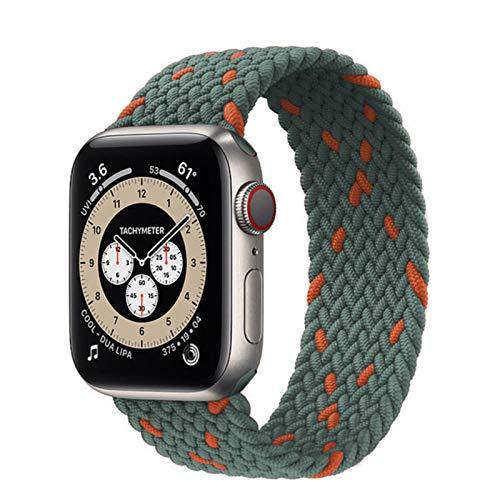Lazo solo trenzado para Apple Watch Band 44 mm 40 mm 38 mm 42 mm Pulsera de cinturón elástico de nailon para IWatch Series 3 4 5 Se 6 Correa de color gris naranja profundo, 42 mm o 44 mm