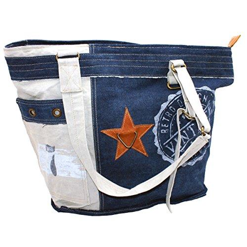 Gall&Zick Canvas Tasche Shopper Umhängetasche Unisex Leder Collegetasche Schultertasche Crossbody Jeans (SHT-4709)