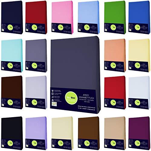 Buymax Jersey Spannbettlaken Spannbetttuch Bettlaken 100% Baumwolle für Matratzen bis 25 cm Steghöhe, 140x200-160x200 cm, Anthrazit