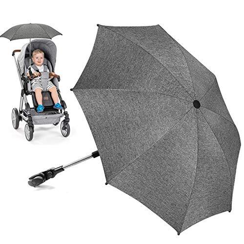 Sonnenschirm Kinderwagen Universal, UV Schutz SPF 50+ Sonnenschutz Kinderwagen, Flexibler Sonnenschirm mit Universalhalterung für Runde und Oale Rohre, 73cm Durchmesser Babywagen Schirm Grau meliert